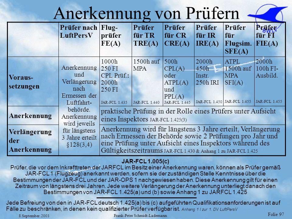 Folie 97 8.September.2003 Frank-Peter Schmidt-Lademann Anerkennung von Prüfern Prüfer nach LuftPersV Flug- prüfer FE(A) Prüfer für TR TRE(A) Prüfer fü