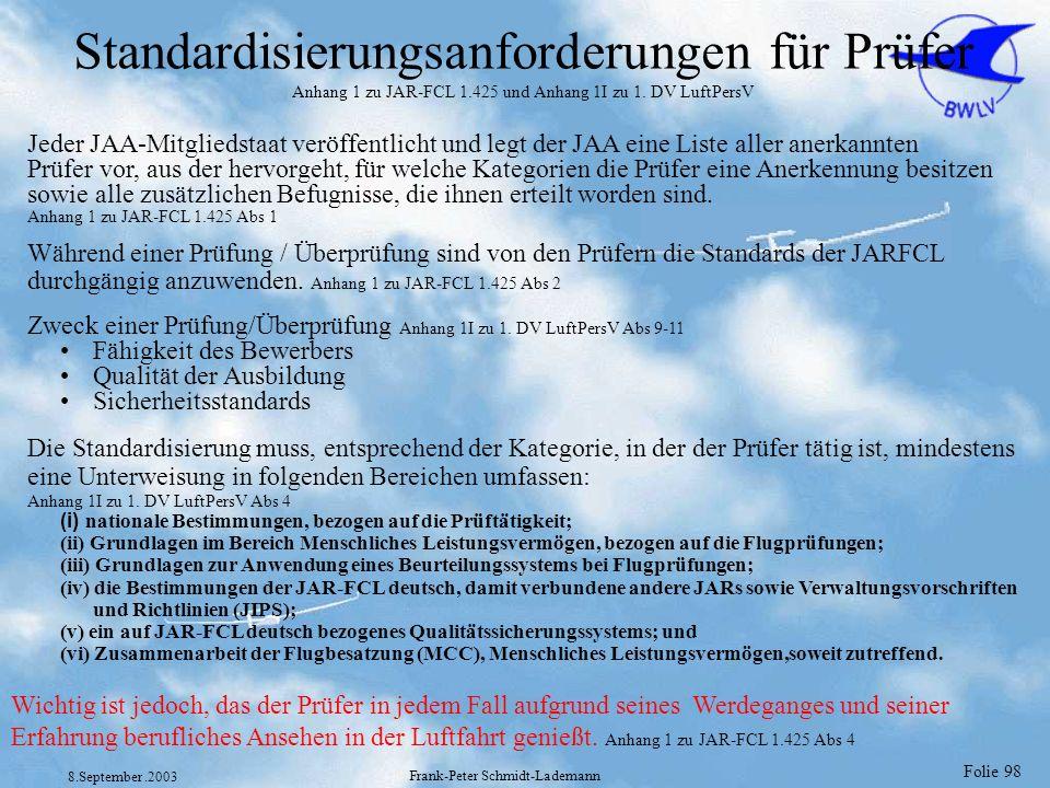 Folie 98 8.September.2003 Frank-Peter Schmidt-Lademann Standardisierungsanforderungen für Prüfer Anhang 1 zu JAR-FCL 1.425 und Anhang 1I zu 1. DV Luft