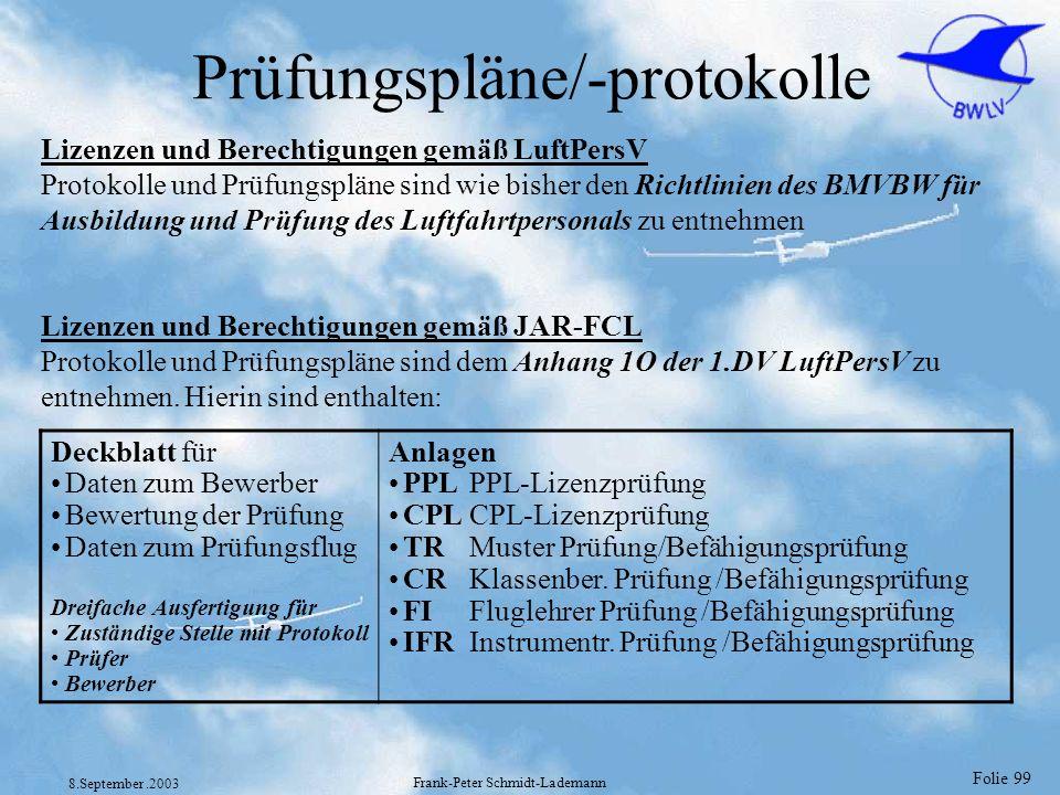 Folie 99 8.September.2003 Frank-Peter Schmidt-Lademann Prüfungspläne/-protokolle Lizenzen und Berechtigungen gemäß LuftPersV Protokolle und Prüfungspl