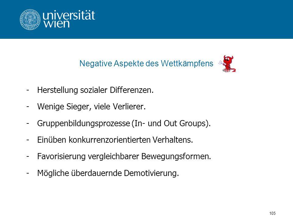 105 Negative Aspekte des Wettkämpfens -Herstellung sozialer Differenzen.