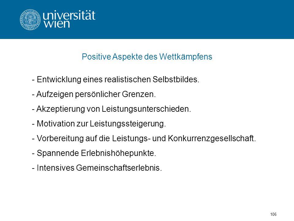 106 Positive Aspekte des Wettkämpfens - Entwicklung eines realistischen Selbstbildes.