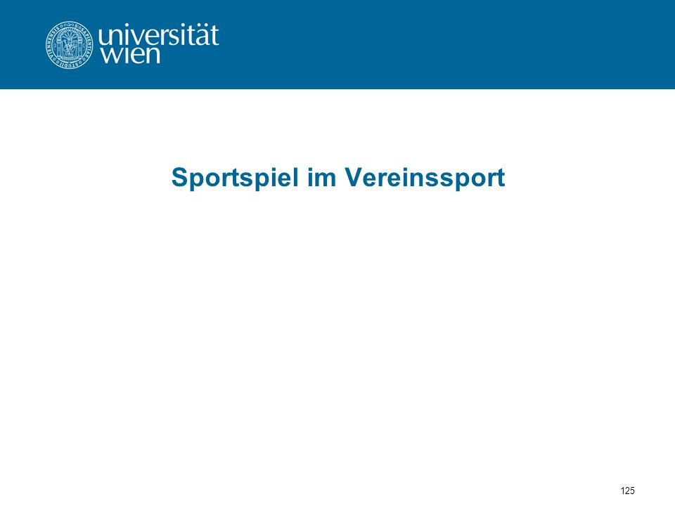 125 Sportspiel im Vereinssport