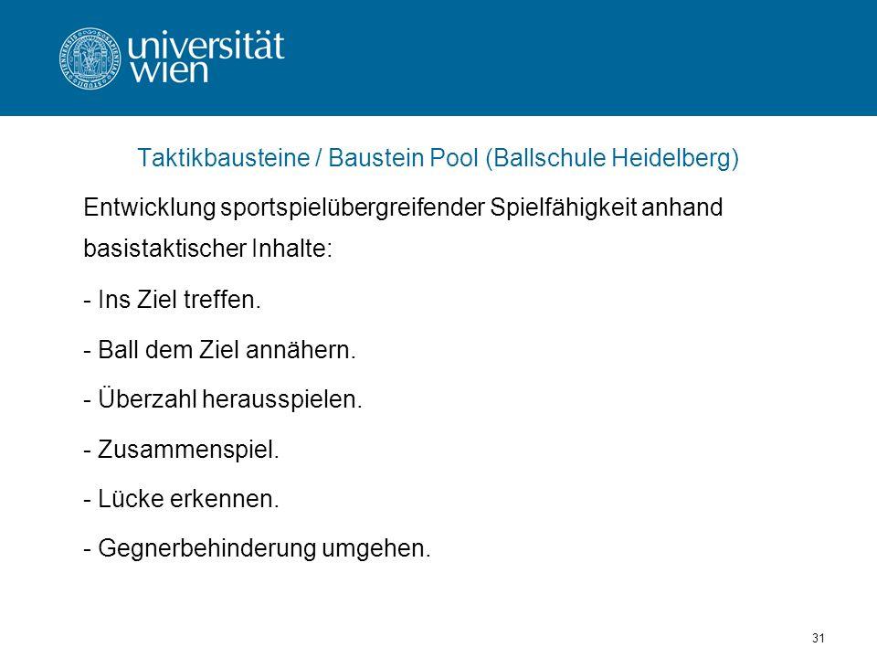 31 Taktikbausteine / Baustein Pool (Ballschule Heidelberg) Entwicklung sportspielübergreifender Spielfähigkeit anhand basistaktischer Inhalte: - Ins Ziel treffen.