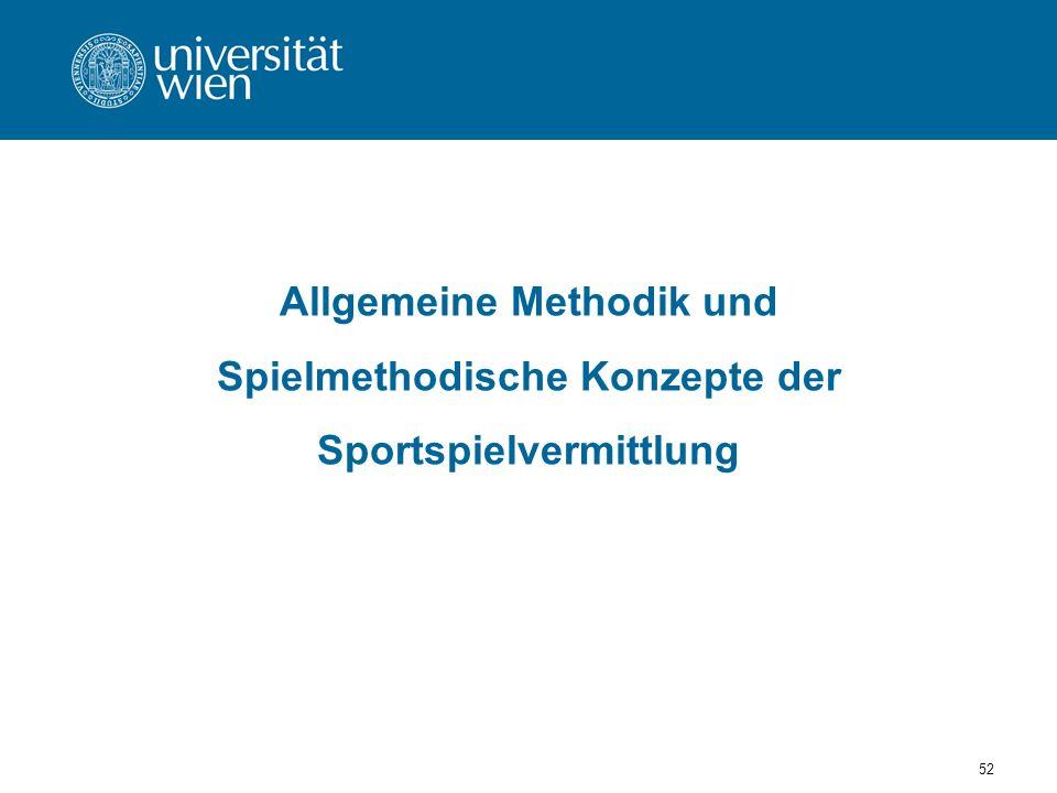 52 Allgemeine Methodik und Spielmethodische Konzepte der Sportspielvermittlung