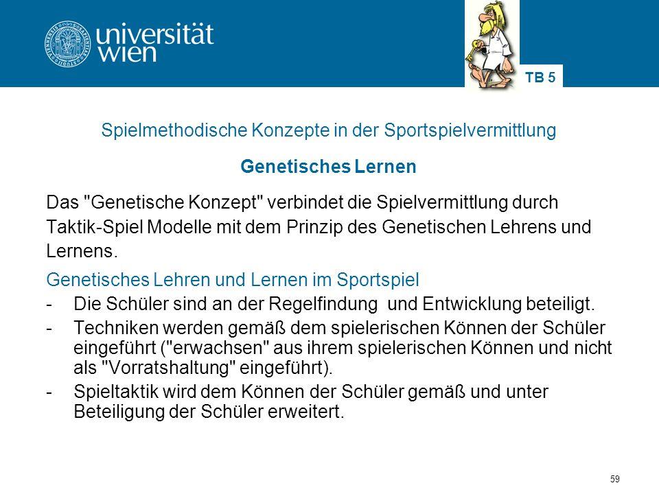 59 Spielmethodische Konzepte in der Sportspielvermittlung Genetisches Lernen Das Genetische Konzept verbindet die Spielvermittlung durch Taktik-Spiel Modelle mit dem Prinzip des Genetischen Lehrens und Lernens.