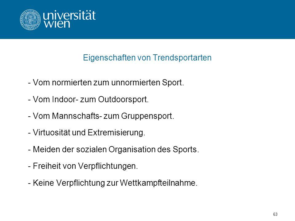 63 Eigenschaften von Trendsportarten - Vom normierten zum unnormierten Sport.