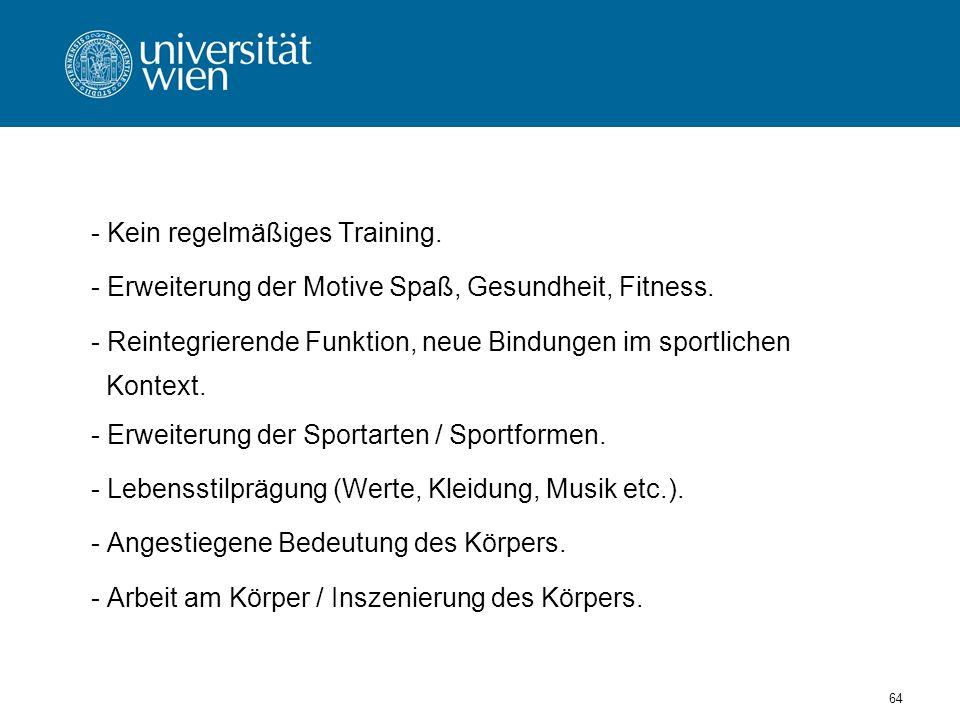 64 - Kein regelmäßiges Training.- Erweiterung der Motive Spaß, Gesundheit, Fitness.