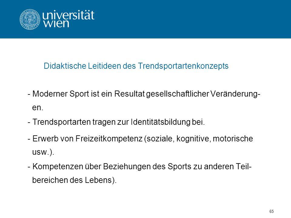 65 Didaktische Leitideen des Trendsportartenkonzepts - Moderner Sport ist ein Resultat gesellschaftlicher Veränderung- en.