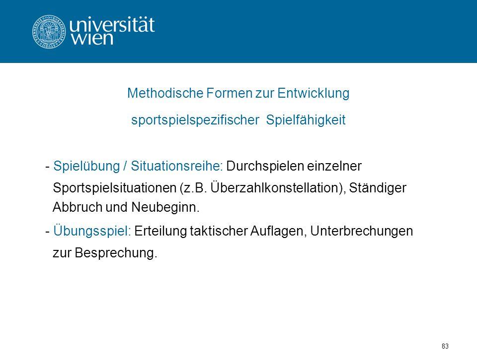 83 Methodische Formen zur Entwicklung sportspielspezifischer Spielfähigkeit - Spielübung / Situationsreihe: Durchspielen einzelner Sportspielsituationen (z.B.