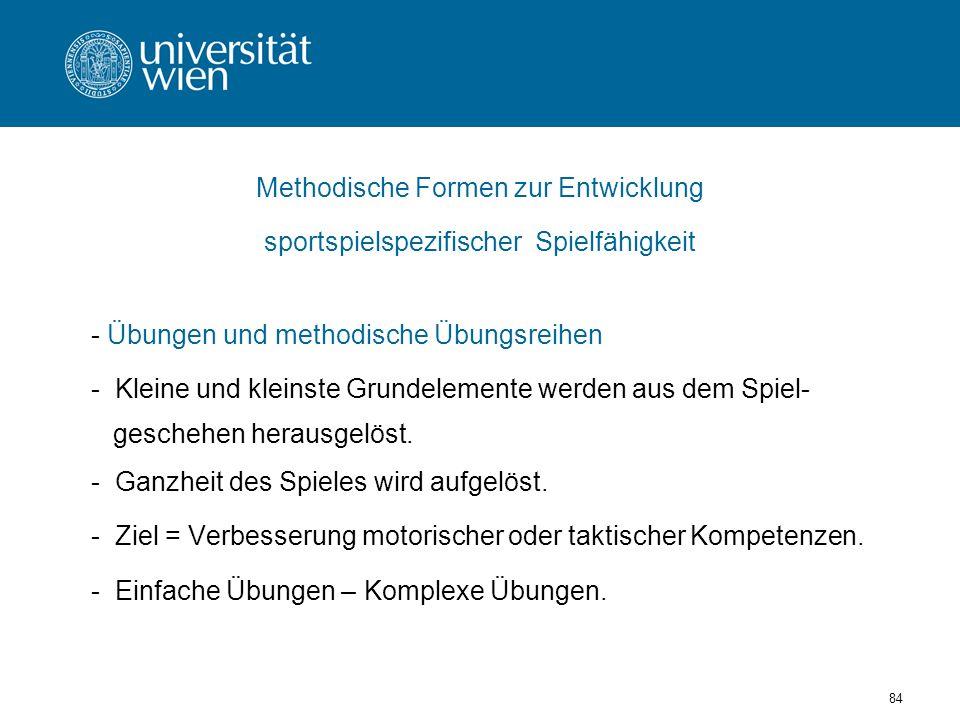 84 Methodische Formen zur Entwicklung sportspielspezifischer Spielfähigkeit - Übungen und methodische Übungsreihen - Kleine und kleinste Grundelemente werden aus dem Spiel- geschehen herausgelöst.