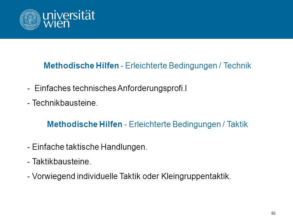 86 Methodische Hilfen - Erleichterte Bedingungen / Technik - Einfaches technisches Anforderungsprofi.l - Technikbausteine.