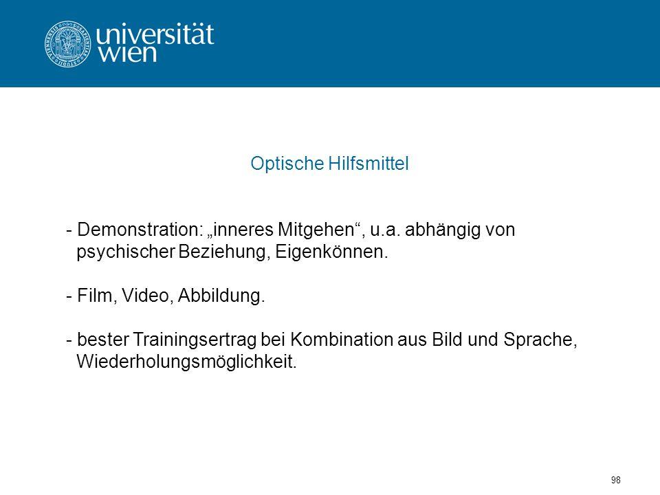 98 Optische Hilfsmittel - Demonstration: inneres Mitgehen, u.a.