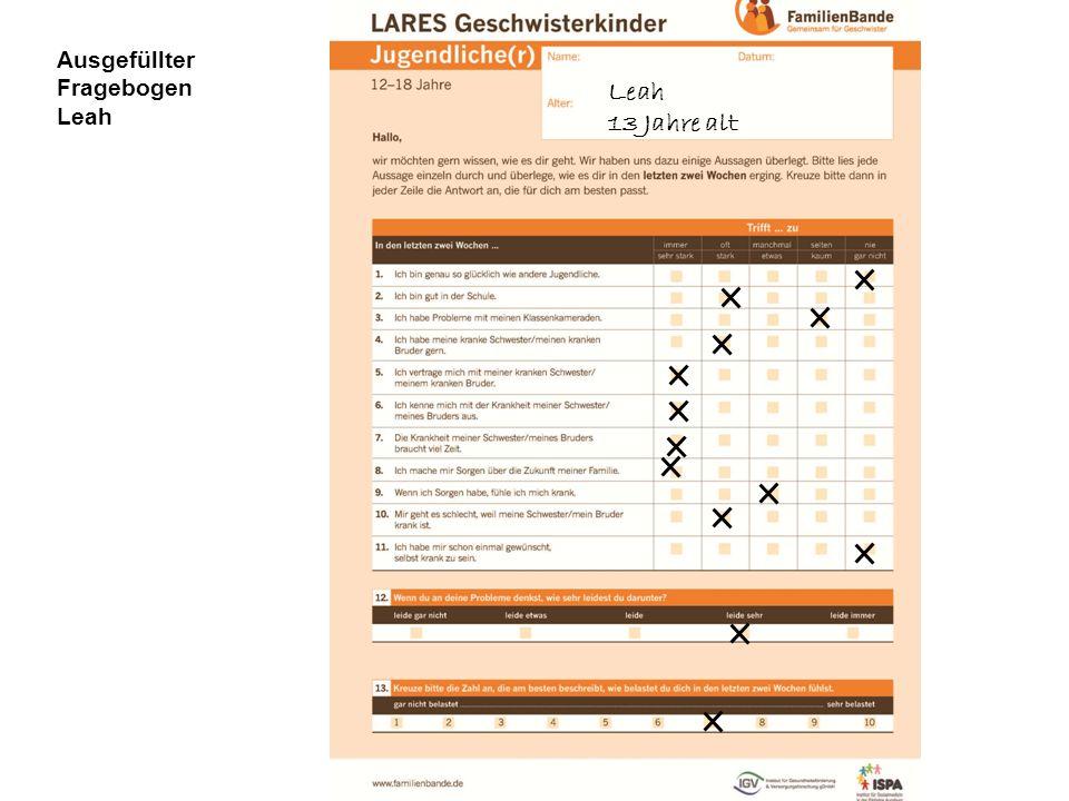 Ausgefüllter Fragebogen Leah