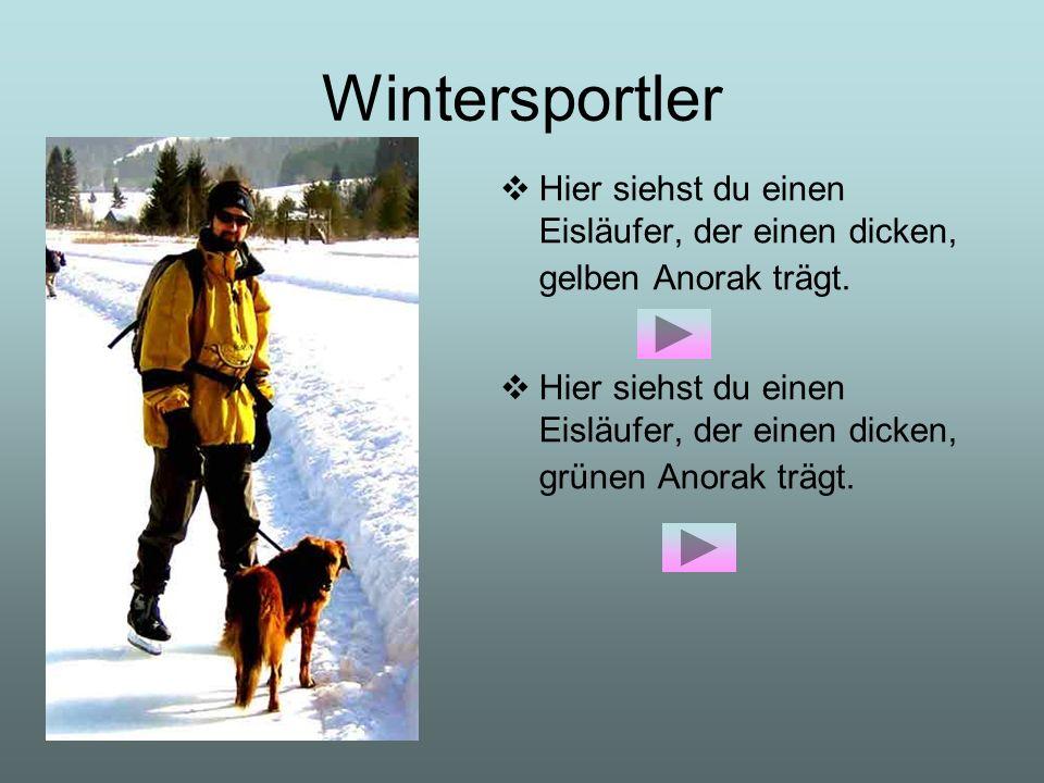 Wintersportler Hier siehst du einen Eisläufer, der einen dicken, gelben Anorak trägt. Hier siehst du einen Eisläufer, der einen dicken, grünen Anorak
