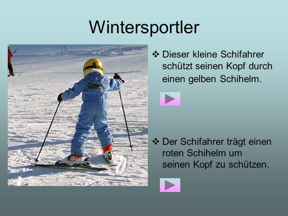 Wintersportler Dieser kleine Schifahrer schützt seinen Kopf durch einen gelben Schihelm. Der Schifahrer trägt einen roten Schihelm um seinen Kopf zu s