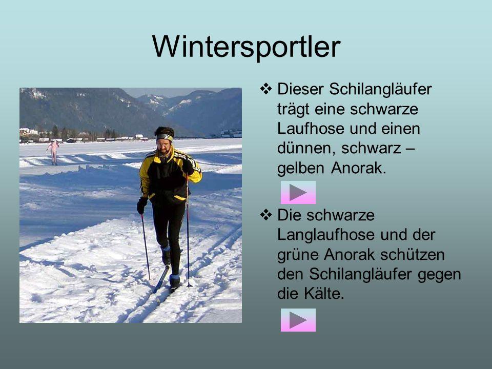 Wintersportler Dieser Schilangläufer trägt eine schwarze Laufhose und einen dünnen, schwarz – gelben Anorak. Die schwarze Langlaufhose und der grüne A