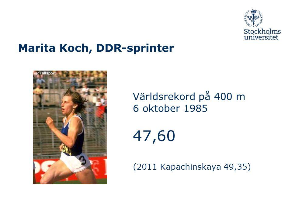 Marita Koch, DDR-sprinter Världsrekord på 400 m 6 oktober 1985 47,60 (2011 Kapachinskaya 49,35)