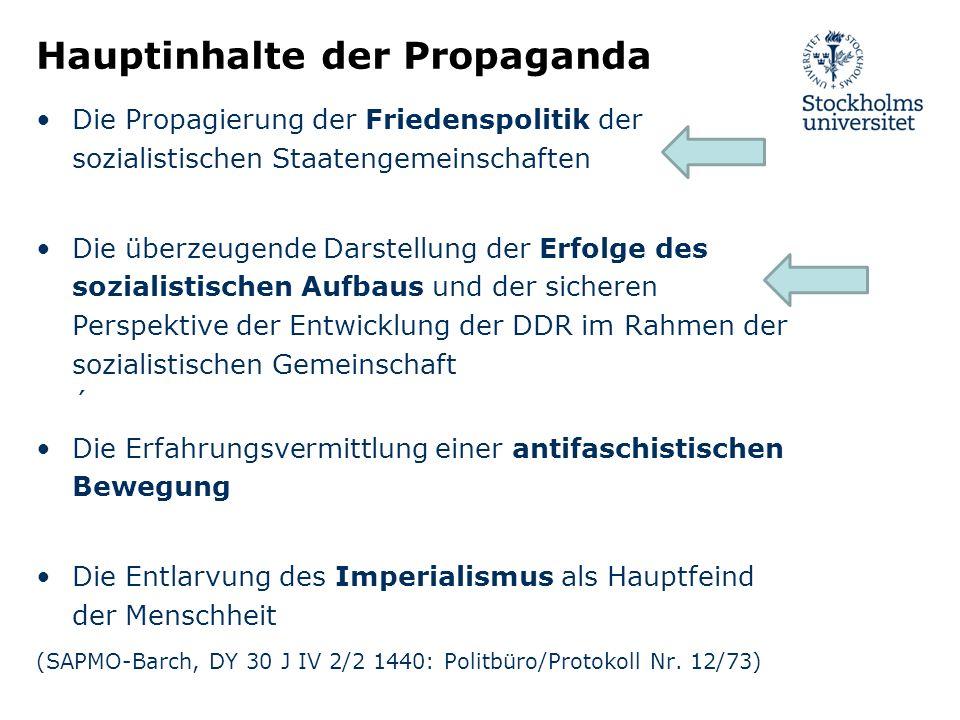 Hauptinhalte der Propaganda Die Propagierung der Friedenspolitik der sozialistischen Staatengemeinschaften Die überzeugende Darstellung der Erfolge de
