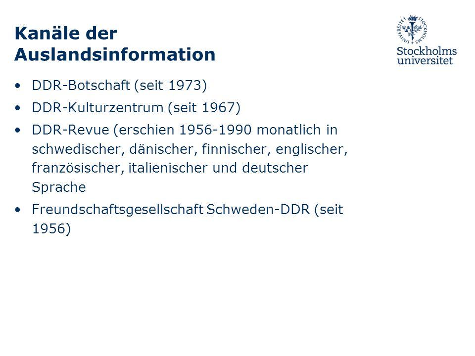 Kanäle der Auslandsinformation DDR-Botschaft (seit 1973) DDR-Kulturzentrum (seit 1967) DDR-Revue (erschien 1956-1990 monatlich in schwedischer, dänisc