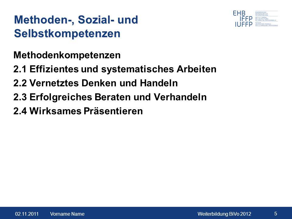 02.11.2011Weiterbildung BiVo 2012 5 Methoden-, Sozial- und Selbstkompetenzen Methodenkompetenzen 2.1 Effizientes und systematisches Arbeiten 2.2 Verne