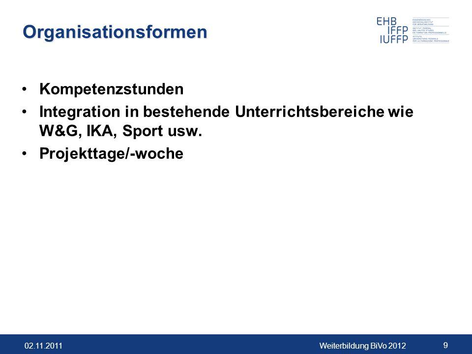 02.11.2011Weiterbildung BiVo 2012 10 Fragen zur ÜfK-Lernorganisation Welche Fachbereiche bzw.