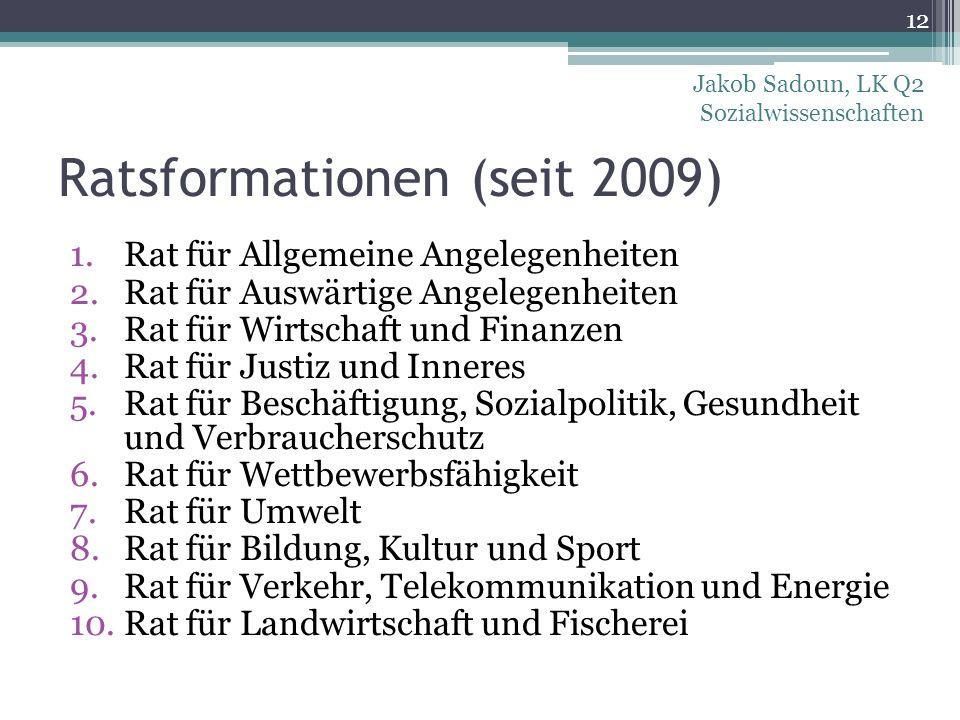 Ratsformationen (seit 2009) 1.Rat für Allgemeine Angelegenheiten 2.Rat für Auswärtige Angelegenheiten 3.Rat für Wirtschaft und Finanzen 4.Rat für Just