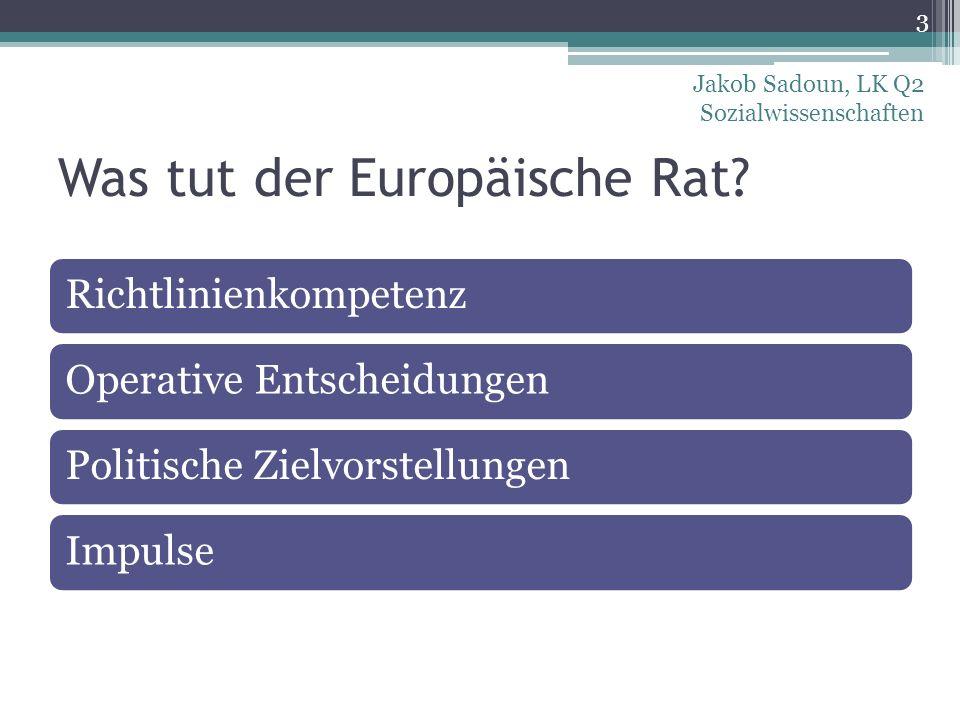 Was tut der Europäische Rat? RichtlinienkompetenzOperative EntscheidungenPolitische ZielvorstellungenImpulse 3 Jakob Sadoun, LK Q2 Sozialwissenschafte
