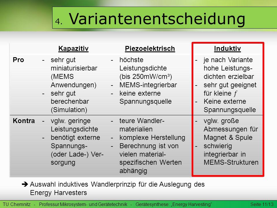 TU Chemnitz - Professur Mikrosystem- und Gerätetechnik - Gerätesynthese: Energy Harvesting Seite 11/13 4. Variantenentscheidung Auswahl induktives Wan