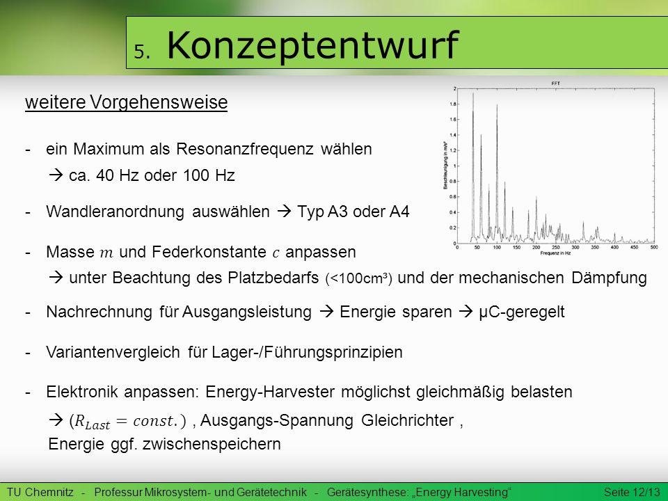 TU Chemnitz - Professur Mikrosystem- und Gerätetechnik - Gerätesynthese: Energy Harvesting Seite 12/13 5. Konzeptentwurf weitere Vorgehensweise