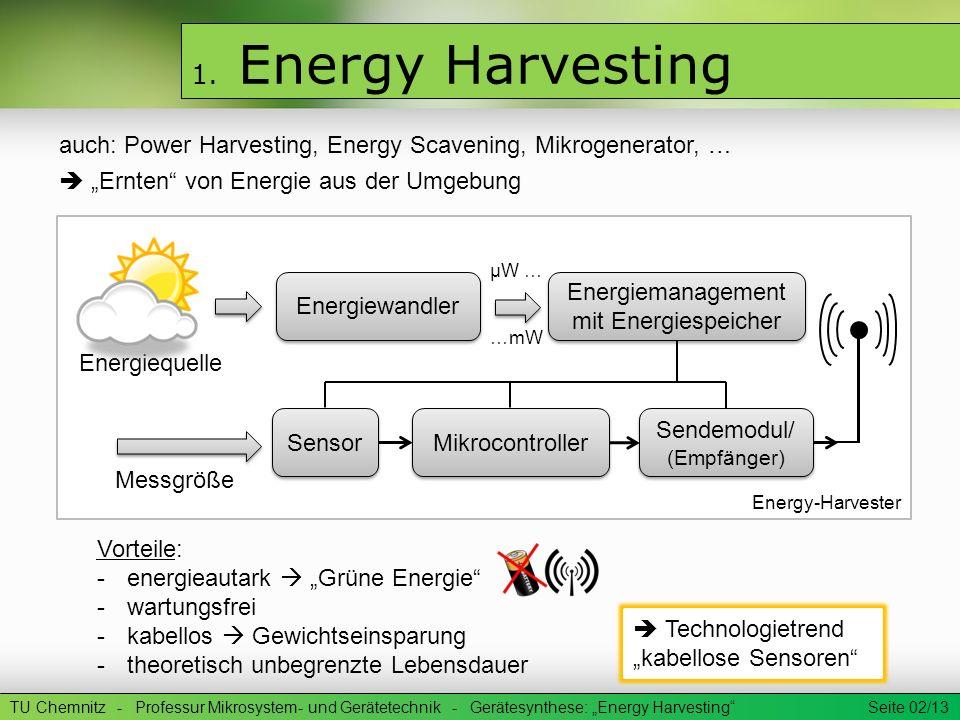 1. Energy Harvesting auch: Power Harvesting, Energy Scavening, Mikrogenerator, … Ernten von Energie aus der Umgebung TU Chemnitz - Professur Mikrosyst