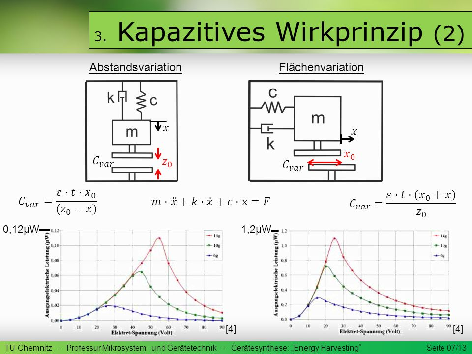 TU Chemnitz - Professur Mikrosystem- und Gerätetechnik - Gerätesynthese: Energy Harvesting Seite 07/13 3. Kapazitives Wirkprinzip (2) Abstandsvariatio