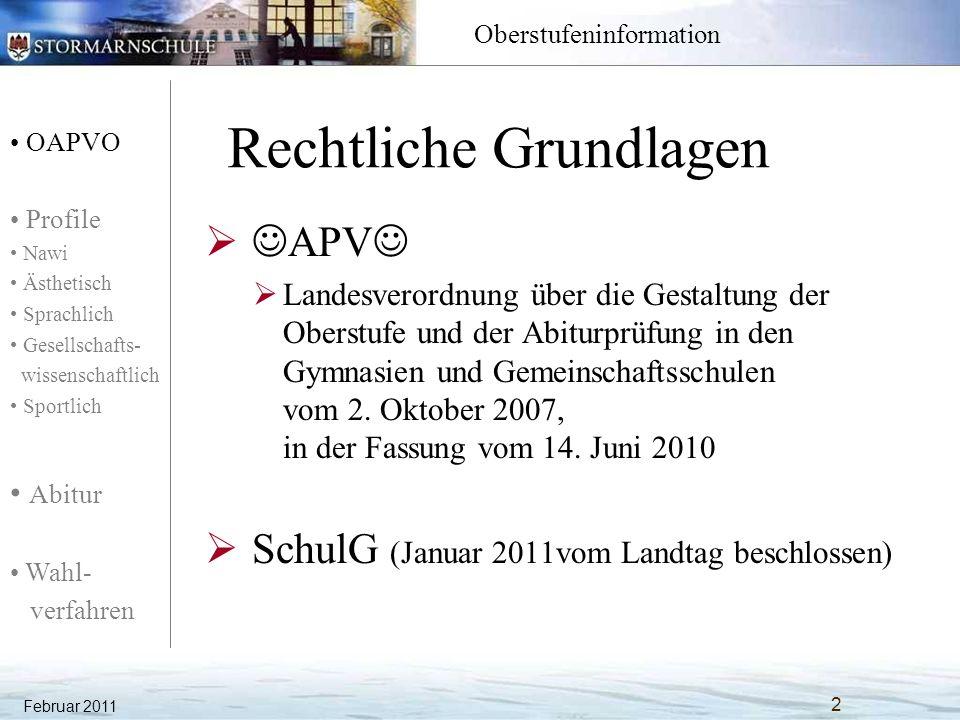 OAPVO Profile Nawi Ästhetisch Sprachlich Gesellschafts- wissenschaftlich Sportlich Abitur Wahl- verfahren Oberstufeninformation Rechtliche Grundlagen