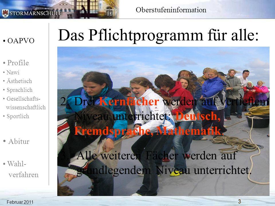 OAPVO Profile Nawi Ästhetisch Sprachlich Gesellschafts- wissenschaftlich Sportlich Abitur Wahl- verfahren Oberstufeninformation Februar 2011 54 Gesellschaftswissenschaftliches Profil: Erdkunde Unterrichtsfächer Einführungs- phase QualifikationsphaseAbitur- prüfungsfächer 111213 1.Aufgabenfeld: sprachlich- literarisch- künstlerisch Deutsch344P1 / P2 Englisch344P1 / P2 La/Fr3(3) P4 Fr/La--- Kunst 22- Musik 2.