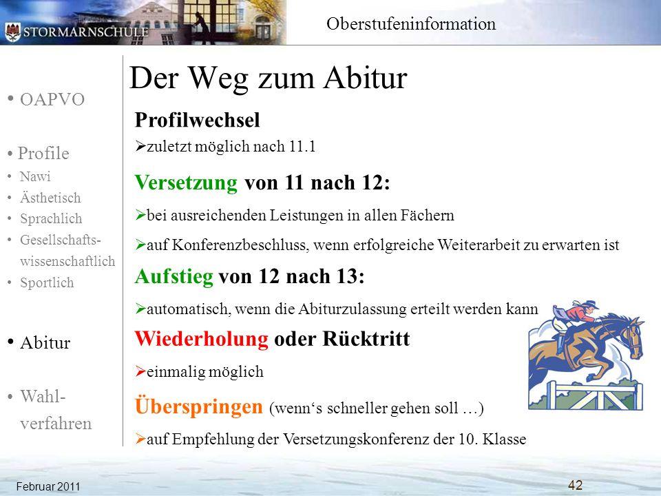 OAPVO Profile Nawi Ästhetisch Sprachlich Gesellschafts- wissenschaftlich Sportlich Abitur Wahl- verfahren Oberstufeninformation Der Weg zum Abitur Feb