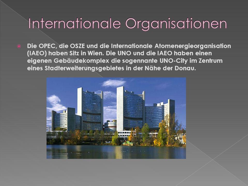 Die OPEC, die OSZE und die Internationale Atomenergieorganisation (IAEO) haben Sitz in Wien.