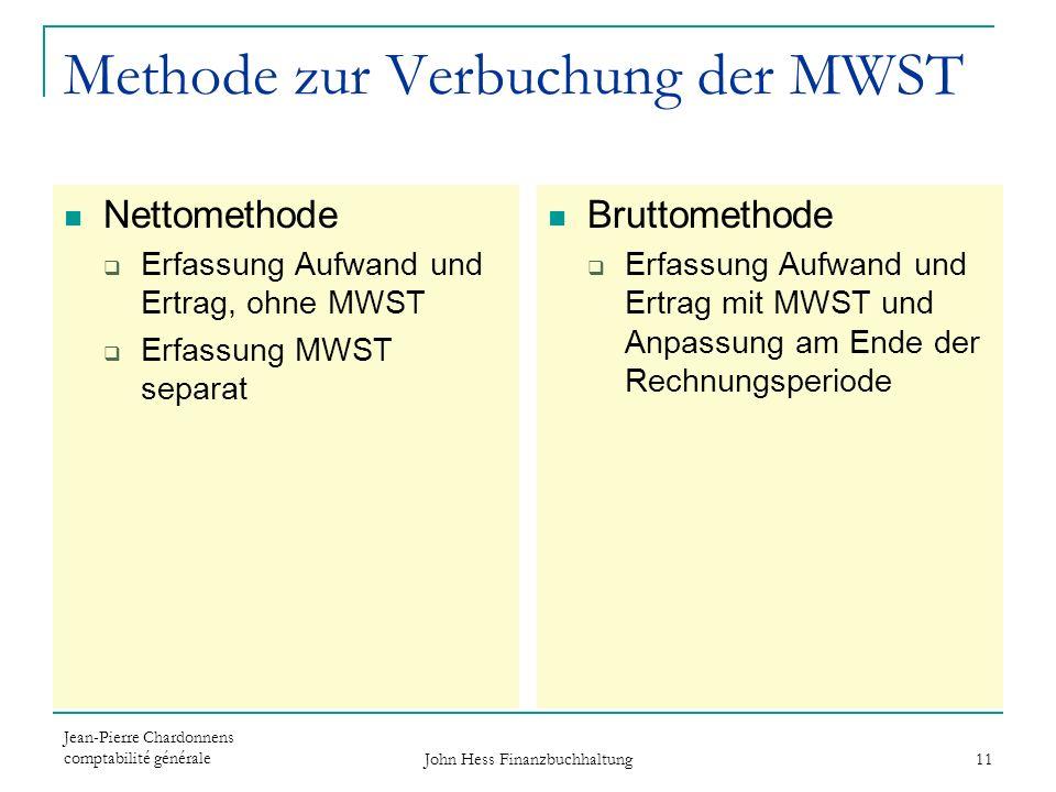 Jean-Pierre Chardonnens comptabilité générale John Hess Finanzbuchhaltung 11 Methode zur Verbuchung der MWST Nettomethode Erfassung Aufwand und Ertrag