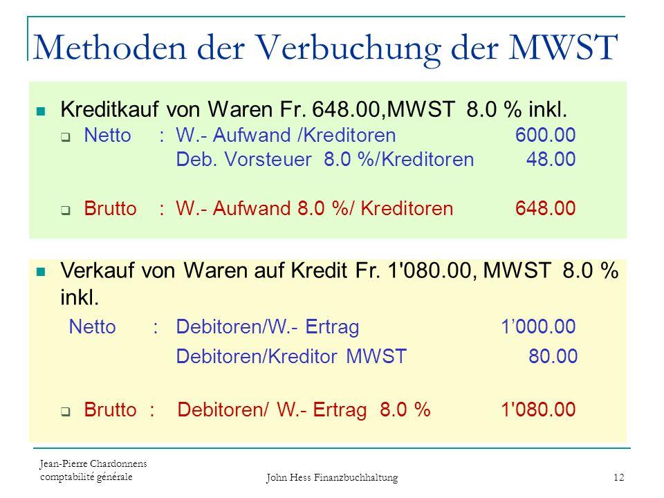 Jean-Pierre Chardonnens comptabilité générale John Hess Finanzbuchhaltung 12 Methoden der Verbuchung der MWST Kreditkauf von Waren Fr. 648.00,MWST 8.0