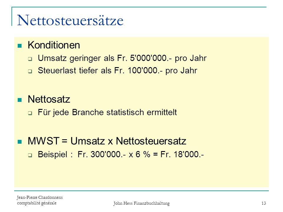 Jean-Pierre Chardonnens comptabilité générale John Hess Finanzbuchhaltung 13 Nettosteuersätze Konditionen Umsatz geringer als Fr. 5'000'000.- pro Jahr