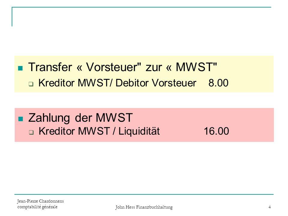 Jean-Pierre Chardonnens comptabilité générale John Hess Finanzbuchhaltung 4 Transfer « Vorsteuer