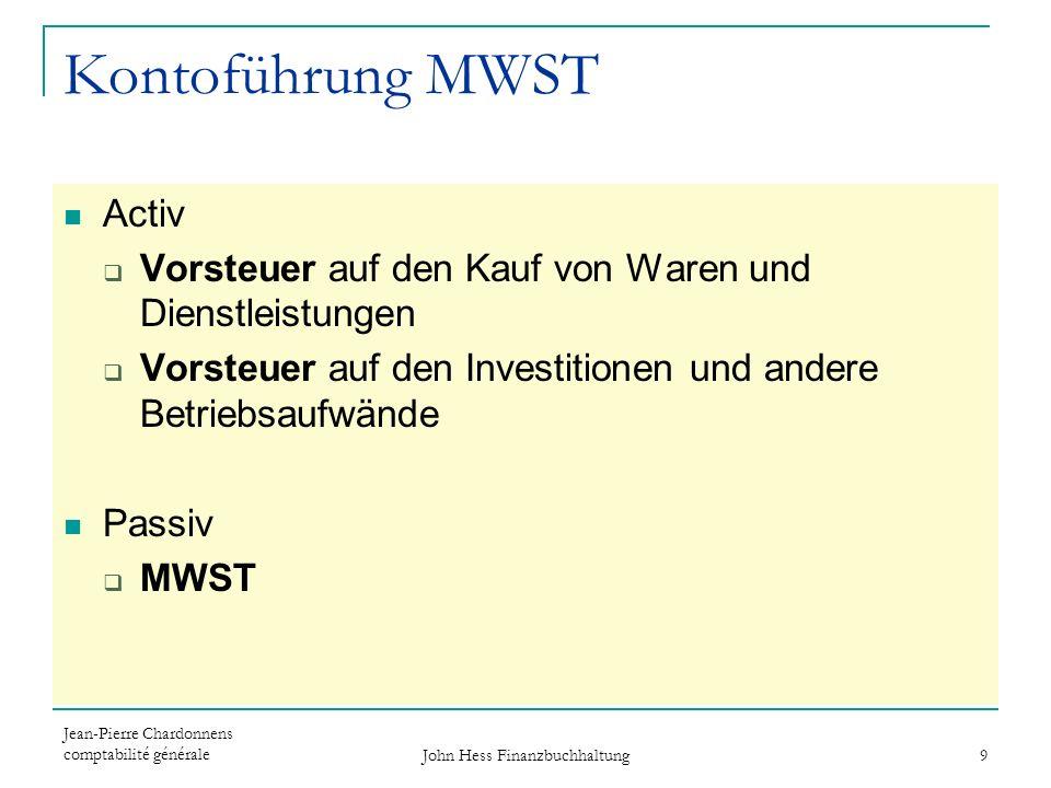 Jean-Pierre Chardonnens comptabilité générale John Hess Finanzbuchhaltung 9 Kontoführung MWST Activ Vorsteuer auf den Kauf von Waren und Dienstleistun