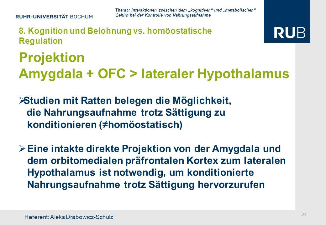 Projektion Amygdala + OFC > lateraler Hypothalamus Studien mit Ratten belegen die Möglichkeit, die Nahrungsaufnahme trotz Sättigung zu konditionieren