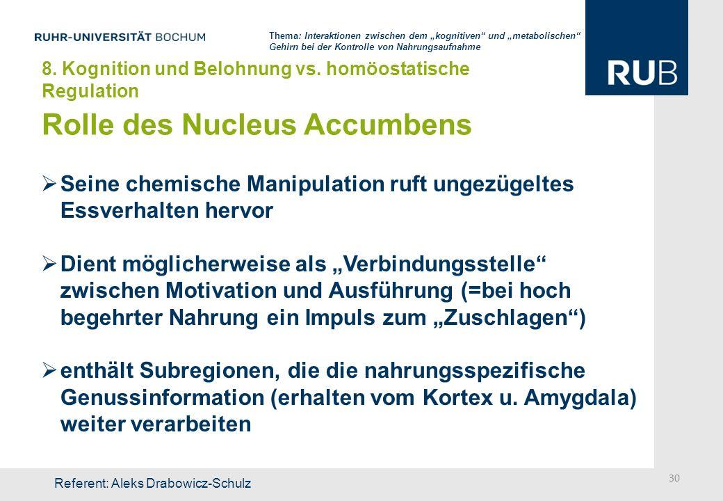 Rolle des Nucleus Accumbens Seine chemische Manipulation ruft ungezügeltes Essverhalten hervor Dient möglicherweise als Verbindungsstelle zwischen Mot