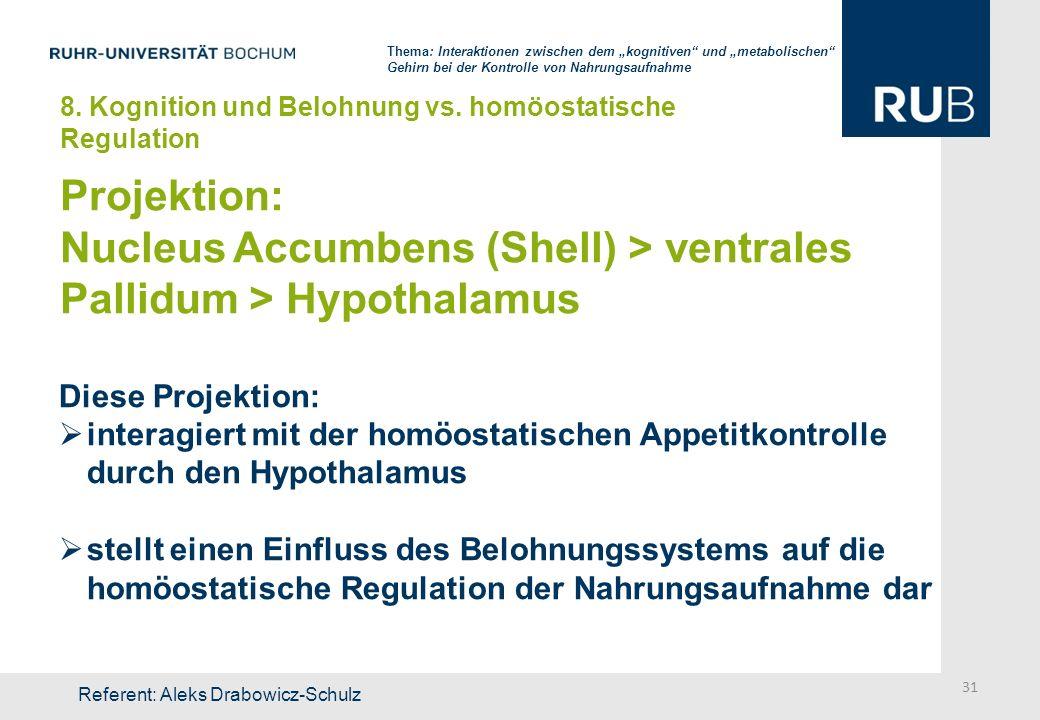 Projektion: Nucleus Accumbens (Shell) > ventrales Pallidum > Hypothalamus Diese Projektion: interagiert mit der homöostatischen Appetitkontrolle durch