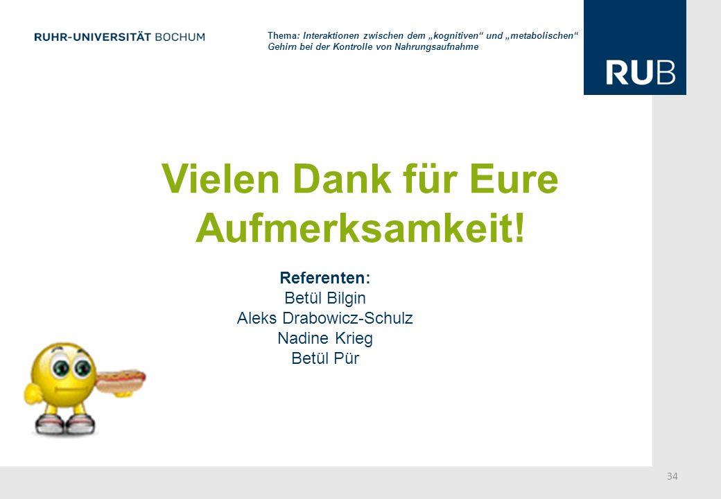 Vielen Dank für Eure Aufmerksamkeit! Referenten: Betül Bilgin Aleks Drabowicz-Schulz Nadine Krieg Betül Pür 34 Thema: Interaktionen zwischen dem kogni