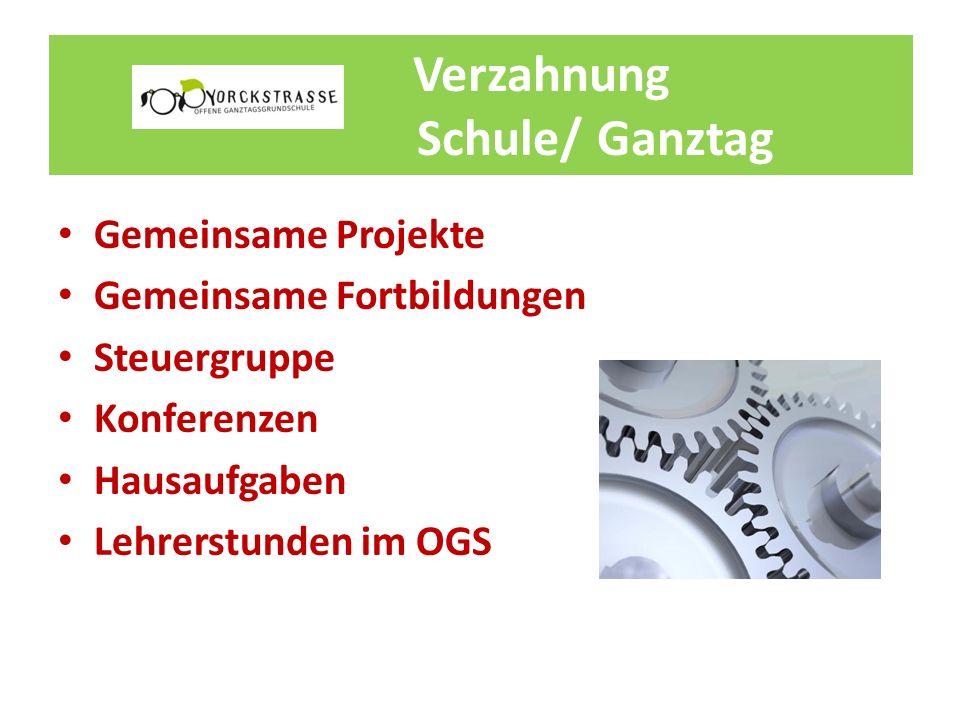 Verzahnung Schule/ Ganztag Gemeinsame Projekte Gemeinsame Fortbildungen Steuergruppe Konferenzen Hausaufgaben Lehrerstunden im OGS