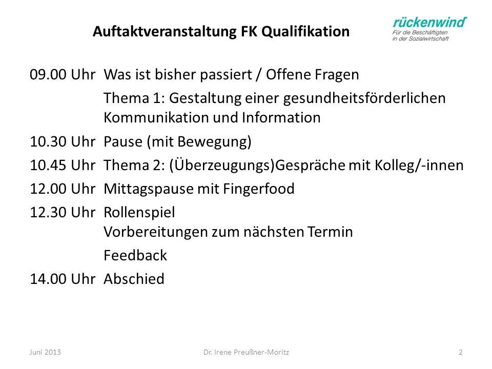 Auftaktveranstaltung FK Qualifikation 09.00 Uhr Was ist bisher passiert / Offene Fragen Thema 1: Gestaltung einer gesundheitsförderlichen Kommunikatio