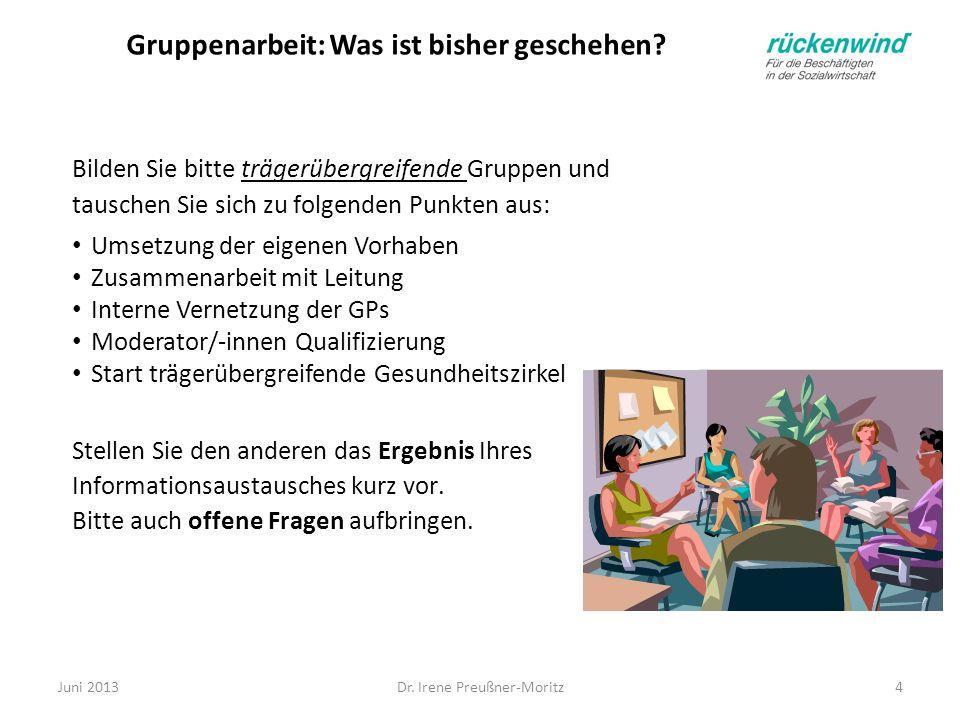Dr. Irene Preußner-Moritz4 Gruppenarbeit: Was ist bisher geschehen? Bilden Sie bitte trägerübergreifende Gruppen und tauschen Sie sich zu folgenden Pu