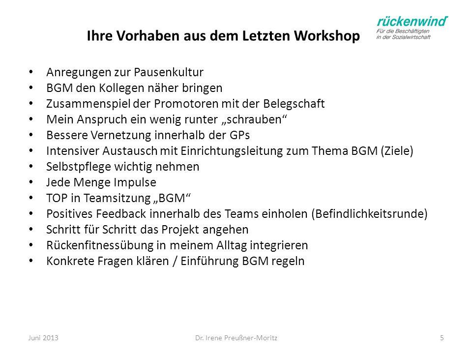 Ihre Vorhaben aus dem Letzten Workshop Dr. Irene Preußner-Moritz5 Anregungen zur Pausenkultur BGM den Kollegen näher bringen Zusammenspiel der Promoto
