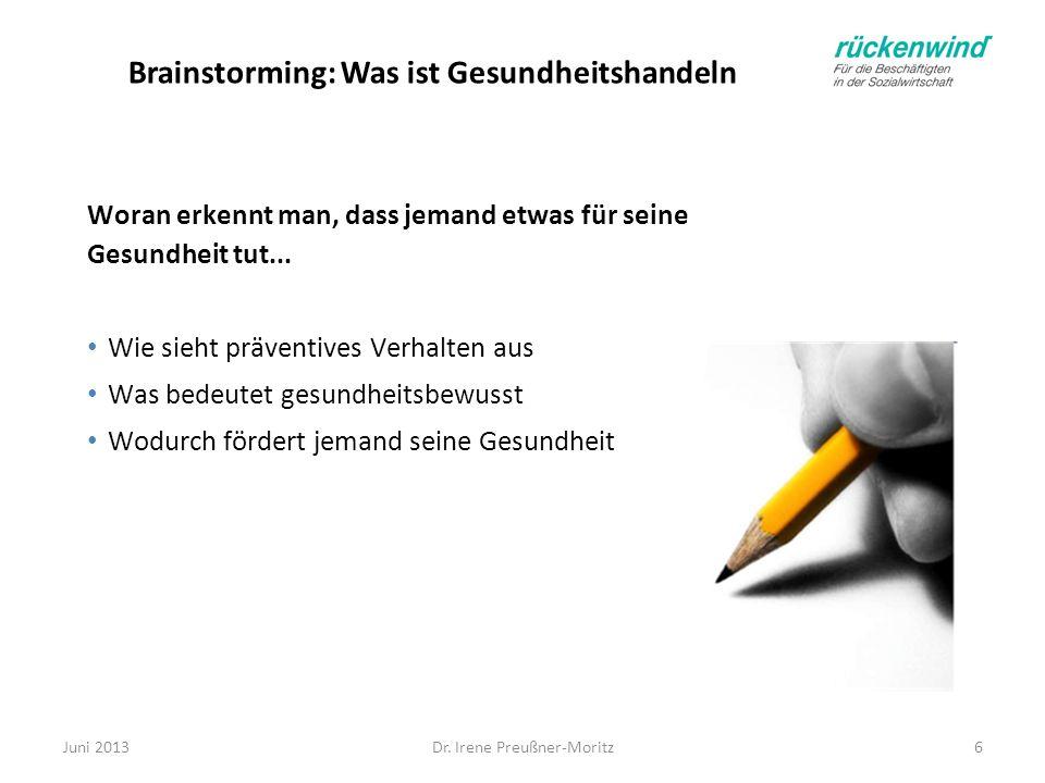 Dr. Irene Preußner-Moritz6 Brainstorming: Was ist Gesundheitshandeln Woran erkennt man, dass jemand etwas für seine Gesundheit tut... Wie sieht präven