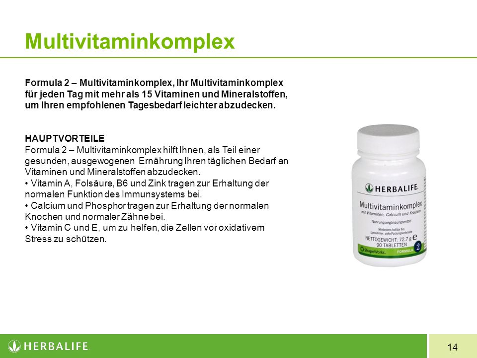 14 Formula 2 Multivitaminkomplex Formula 2 – Multivitaminkomplex, Ihr Multivitaminkomplex für jeden Tag mit mehr als 15 Vitaminen und Mineralstoffen,